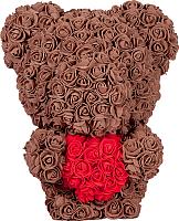 Мишка из роз No Brand Rose Bear стоящий с сердцем / 8032 (40см, коричневый) -