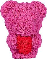Мишка из роз No Brand Rose Bear стоящий с сердцем / 8023 (40см, розовый) -
