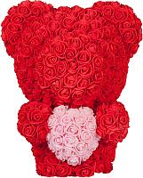 Мишка из роз No Brand Rose Bear стоящий с сердцем / 8021 (40см, красный) -