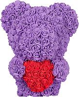 Мишка из роз No Brand Rose Bear стоящий с сердцем / 8028 (40см, фиолетовый) -
