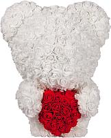 Мишка из роз No Brand Rose Bear стоящий с сердцем / 8022 (40см, белый) -