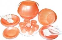 Набор пластиковой посуды Белпласт Пикник с215-2830 (оранжевый) -