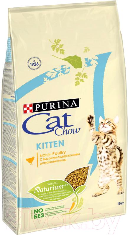 Купить Корм для кошек Cat Chow, Kitten With Chicken полнорационный с курицей (15кг), Россия
