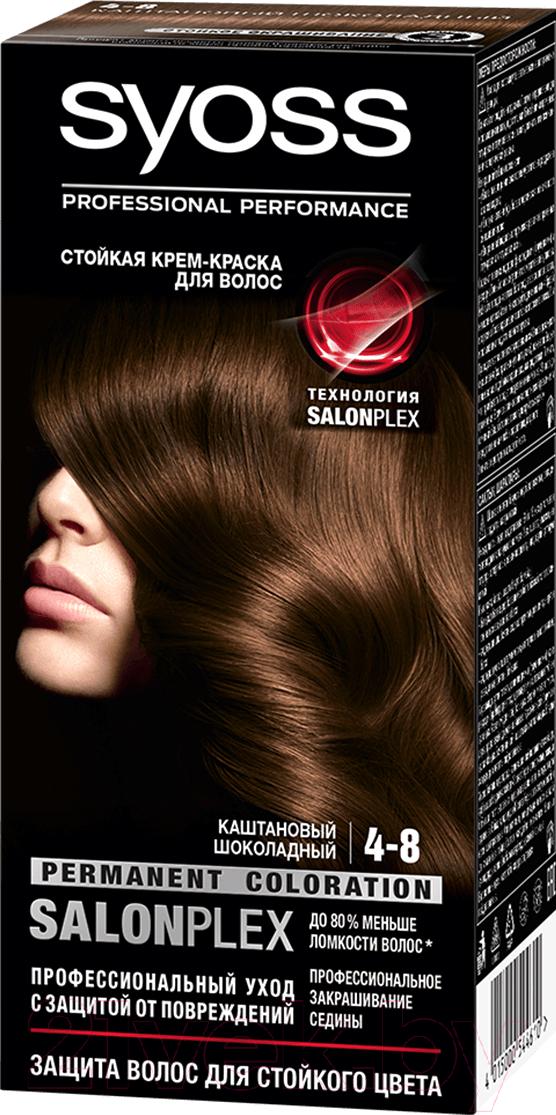 Купить Крем-краска для волос Syoss, Salonplex Permanent Coloration 4-8 (каштановый шоколадный), Россия, шатен