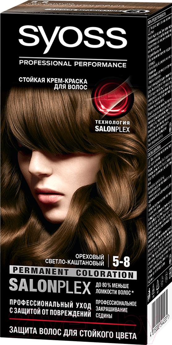 Купить Крем-краска для волос Syoss, Salonplex Permanent Coloration 5-8 (ореховый светло-каштановый), Россия, шатен