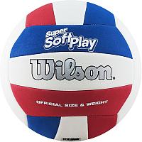 Мяч волейбольный Wilson Super Soft Play / WTH90219XB (размер 5, белый/синий/красный) -