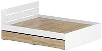 Двуспальная кровать Славянская столица Д-Кр1600 с ящиками (белый/дуб сонома) -