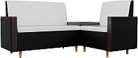 Уголок кухонный мягкий Mebelico Модерн 163 правый / 61168 (экокожа, белый/черный) -