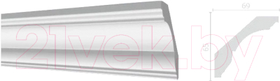 Плинтус потолочный Decor-Dizayn DD17 (69x65x2000)