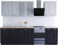 Готовая кухня Хоум Лайн Грация 2.2 (древесина графит/древесина белая) -