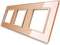 Рамка для выключателя Livolo BB-C7-SR/SR/SR-13 (золото) -