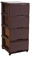 Комод пластиковый Алеана Ротанг 123094 (темно-коричневый) -