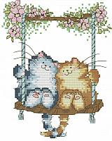 Набор для вышивания БЕЛОСНЕЖКА Влюбленные кошки / 407-14 -