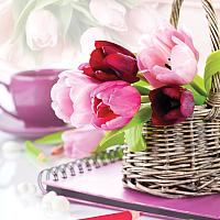Набор для вышивания БЕЛОСНЕЖКА Тюльпаны в корзине / 7030-3D -