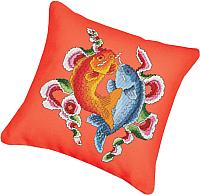 Набор для вышивания БЕЛОСНЕЖКА Подушка 160. Цветные рыбы (канва красная) -