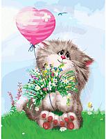 Картина по номерам БЕЛОСНЕЖКА Кот с букетом / 3002-CS -