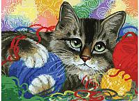 Картина по номерам БЕЛОСНЕЖКА Котик с клубочками / 3005-CS -