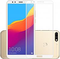 Защитное стекло для телефона Case Full Glue для Y6 Prime 2018 / Honor 7С (белый глянец) -