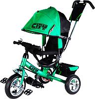 Детский велосипед с ручкой Trike City JD7GS (зеленый) -