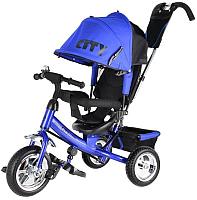 Детский велосипед с ручкой Trike City JD7BS (синий) -