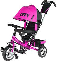 Детский велосипед с ручкой Trike City JD7PS (розовый) -