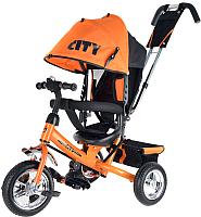 Детский велосипед с ручкой Trike City JD7OS (оранжевый) -