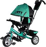 Детский велосипед с ручкой Trike City JD7TS (бирюзовый) -
