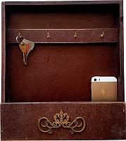 Ключница настенная Grifeldecor Home 4 крючка с полкой (коричневый) -