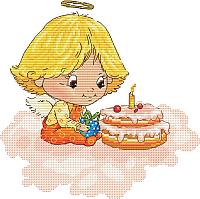 Набор для вышивания БЕЛОСНЕЖКА Ангел с тортиком / 138-14 -