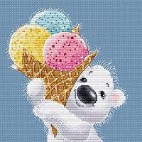 Набор для вышивания БЕЛОСНЕЖКА Медвежонок с мороженым / 162-14 -