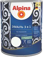 Эмаль Alpina По ржавчине 3 в 1 RAL9003 (750мл, шелковисто-матовый белый) -