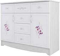 Комод SV-мебель Акварель 1 2 створки (ясень анкор светлый/белый матовый/цветы) -