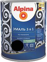 Эмаль Alpina По ржавчине 3 в 1 RAL9005 (750мл, шелковисто-матовый черный) -