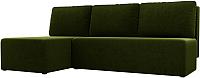 Диван угловой Mio Tesoro Берген 179 левый (микровельвет, зеленый) -