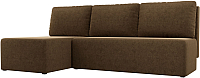 Диван угловой Mio Tesoro Берген 179 левый (микровельвет, коричневый) -