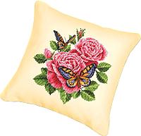 Набор для вышивания БЕЛОСНЕЖКА Подушка 137. Бабочки и розы (канва бежевая) -