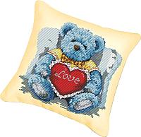 Набор для вышивания БЕЛОСНЕЖКА Подушка 920. Медвежонок с сердцем (канва бежевая) -