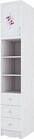 Шкаф-пенал SV-мебель Акварель 1 (ясень анкор светлый/белый матовый/цветы) -