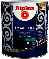 Эмаль Alpina По ржавчине 3 в 1 RAL 6002 (2.5л, шелковисто-матовый зеленый) -