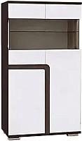 Шкаф с витриной SV-мебель Гостиная Нота 25 малая (дуб венге/жемчуг) -