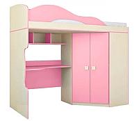 Кровать-чердак Горизонт Мебель Радуга со шкафом (фламинго) -