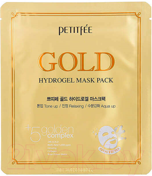 Купить Маска для лица гидрогелевая Petitfee, Gold Hydrogel Mask Pack, Южная корея