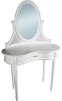 Туалетный столик с зеркалом ГрандМодерн Без деколи (белый с патиной) -