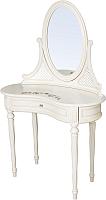 Туалетный столик с зеркалом ГрандМодерн С деколью (ваниль с патиной) -