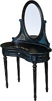 Туалетный столик с зеркалом ГрандМодерн С деколью (черный с синей патиной) -