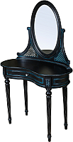 Туалетный столик с зеркалом ГрандМодерн Без деколи (черный с синей патиной) -