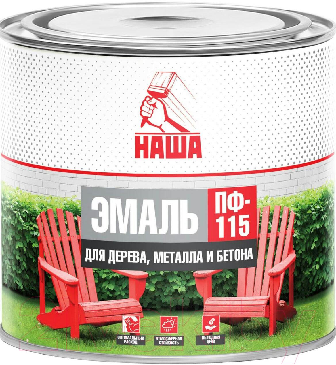 Купить Эмаль Кубанские краски, Наша ПФ-115 (1.8кг, белый), Россия