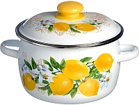 Кастрюля СтальЭмаль Лимоны / 3MC181P (белый) -
