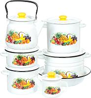 Набор кухонной посуды СтальЭмаль Эквадор 25 N25B80 (белый) -