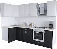 Готовая кухня Хоум Лайн Кристалл Люкс 1.2x2.8 (черный/белый) -